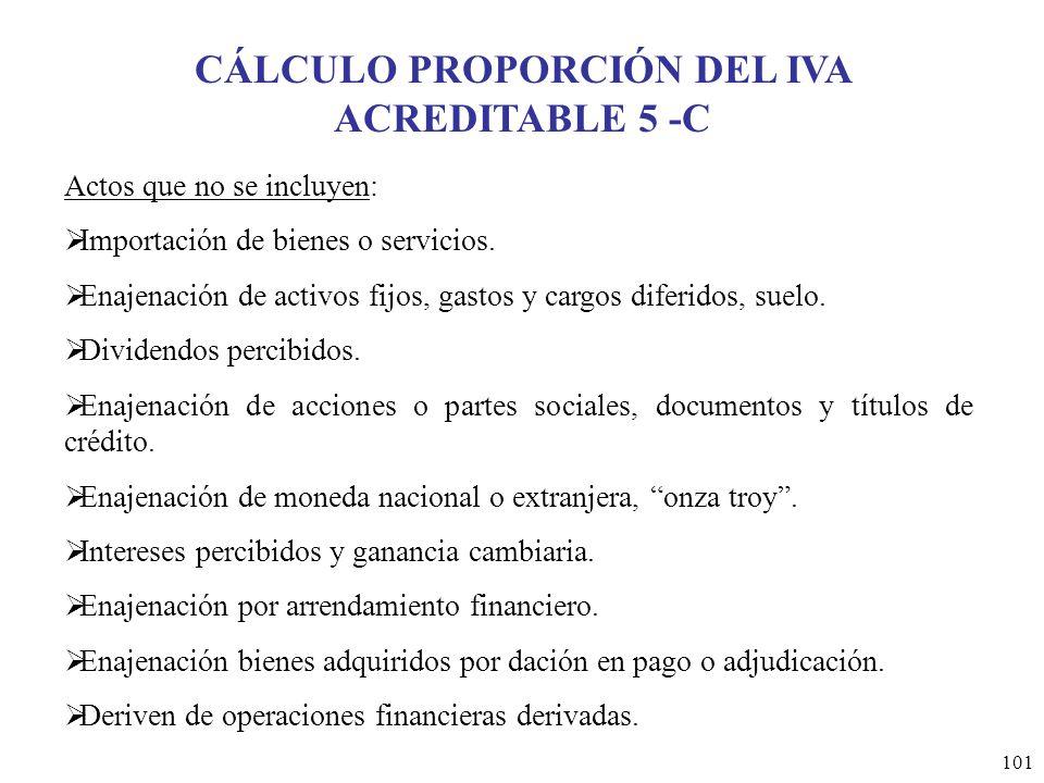 CÁLCULO PROPORCIÓN DEL IVA ACREDITABLE 5 -C