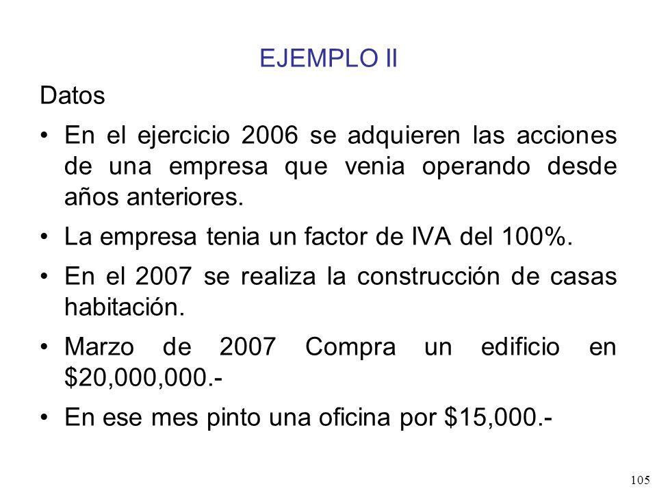 EJEMPLO II Datos. En el ejercicio 2006 se adquieren las acciones de una empresa que venia operando desde años anteriores.
