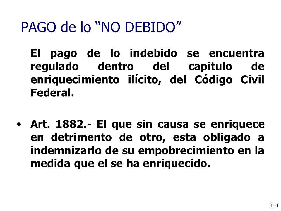 PAGO de lo NO DEBIDO El pago de lo indebido se encuentra regulado dentro del capitulo de enriquecimiento ilícito, del Código Civil Federal.