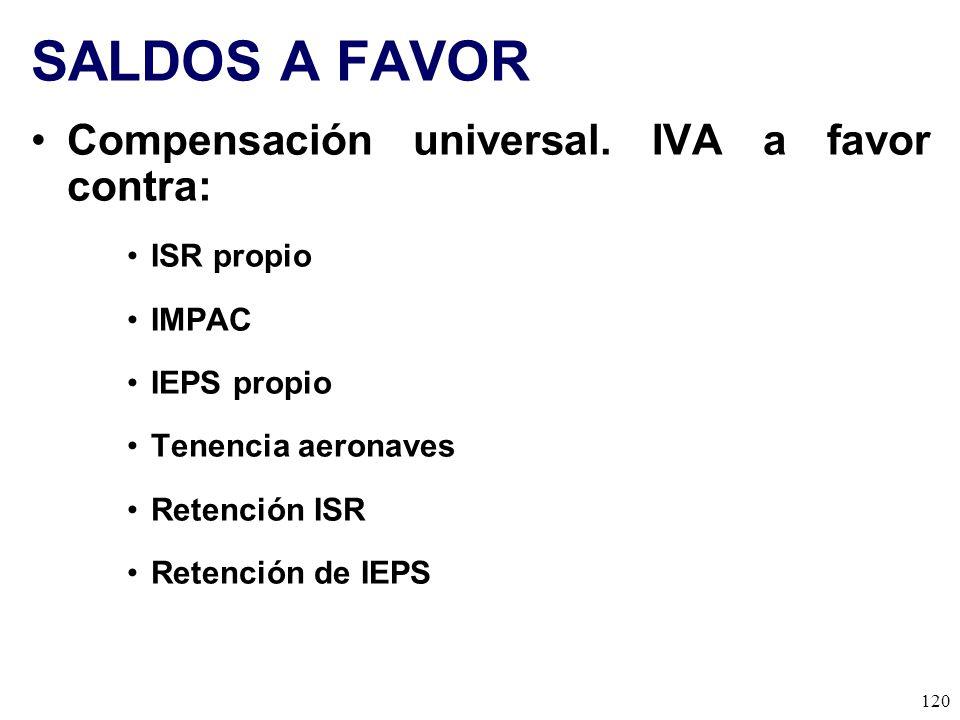SALDOS A FAVOR Compensación universal. IVA a favor contra: ISR propio