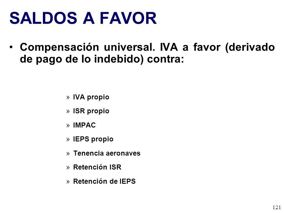SALDOS A FAVOR Compensación universal. IVA a favor (derivado de pago de lo indebido) contra: IVA propio.