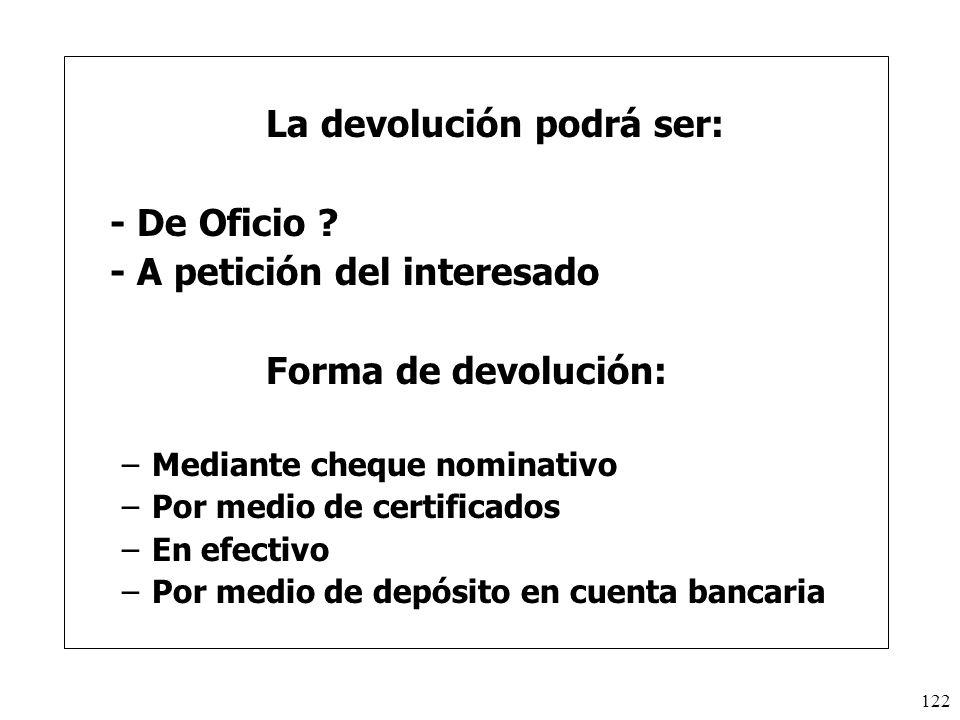 La devolución podrá ser: - De Oficio - A petición del interesado
