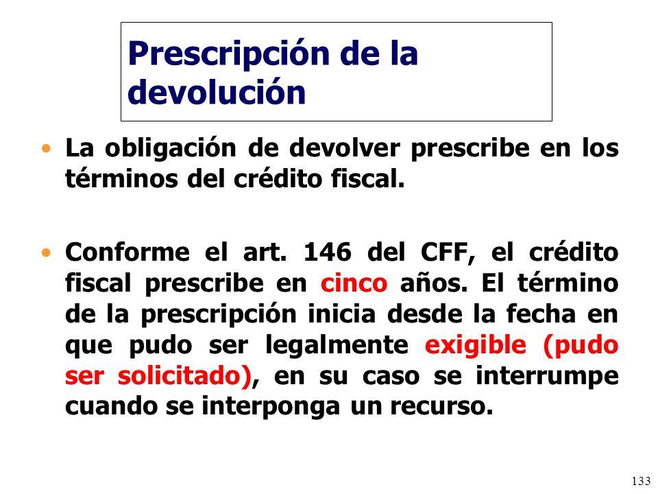 Prescripción de la devolución