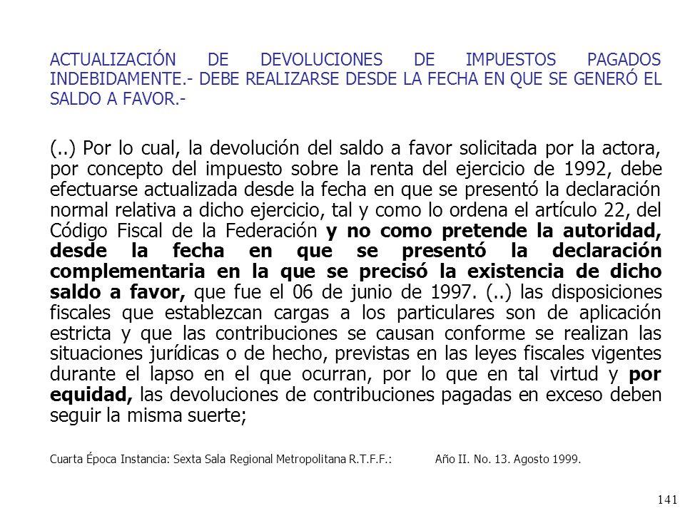 ACTUALIZACIÓN DE DEVOLUCIONES DE IMPUESTOS PAGADOS INDEBIDAMENTE