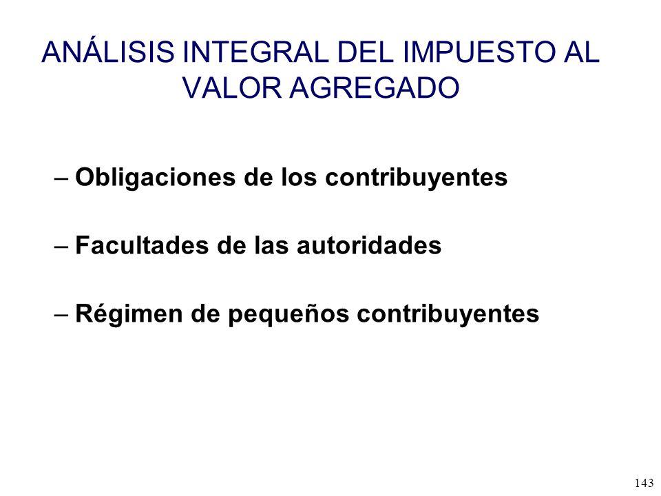 ANÁLISIS INTEGRAL DEL IMPUESTO AL VALOR AGREGADO