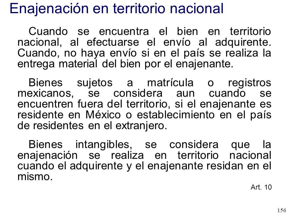 Enajenación en territorio nacional