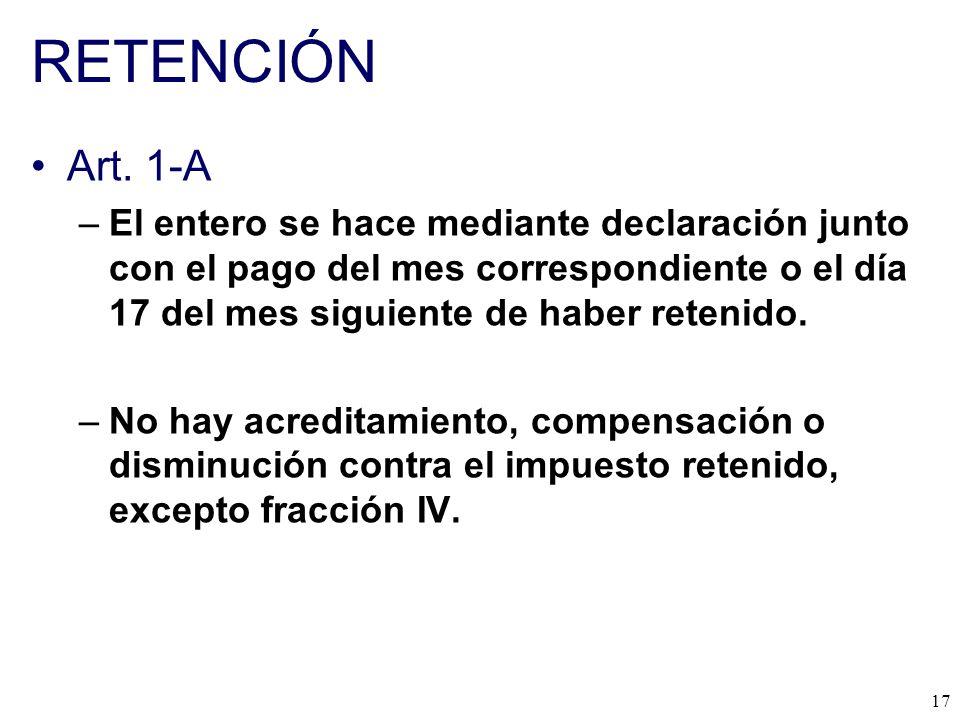 RETENCIÓN Art. 1-A.
