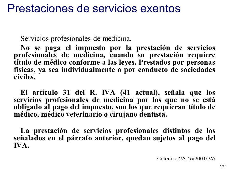 Prestaciones de servicios exentos