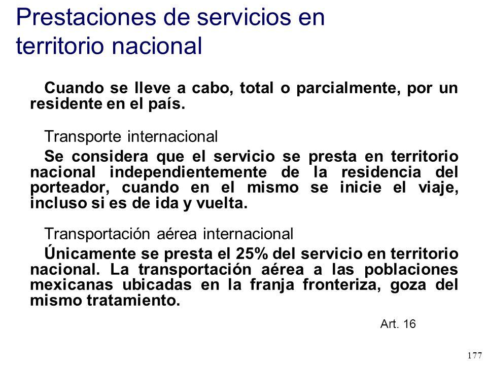 Prestaciones de servicios en territorio nacional