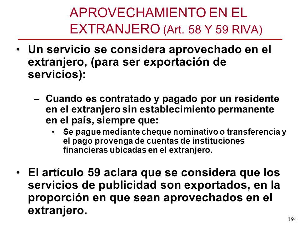 APROVECHAMIENTO EN EL EXTRANJERO (Art. 58 Y 59 RIVA)