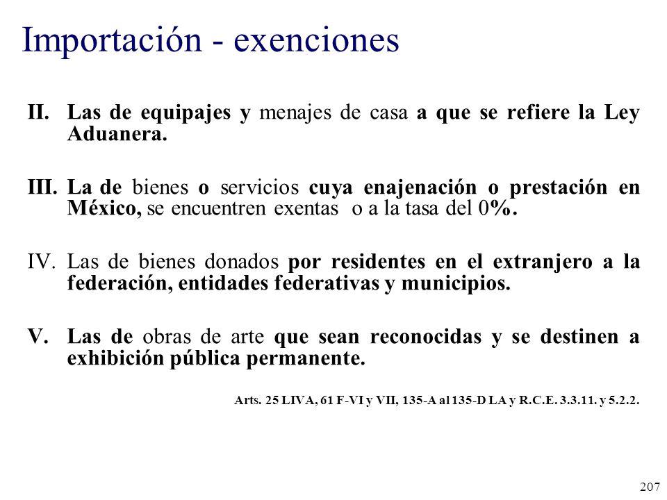 Importación - exenciones