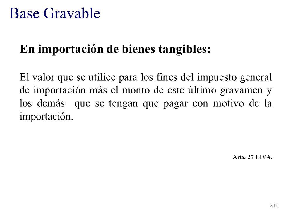 Base Gravable En importación de bienes tangibles: