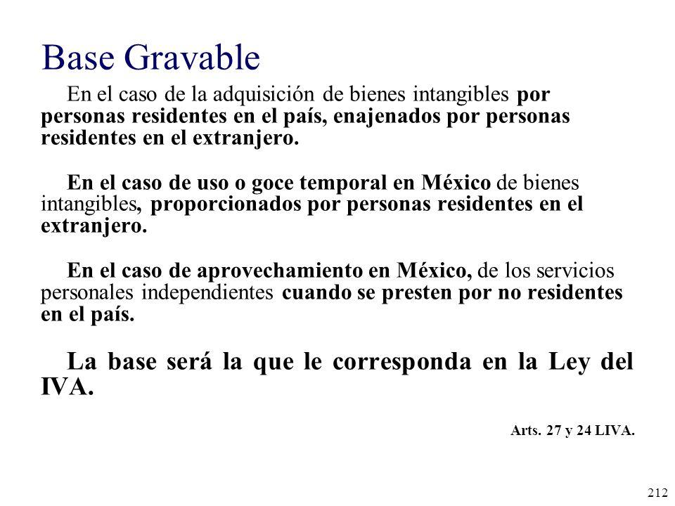 Base Gravable La base será la que le corresponda en la Ley del IVA.