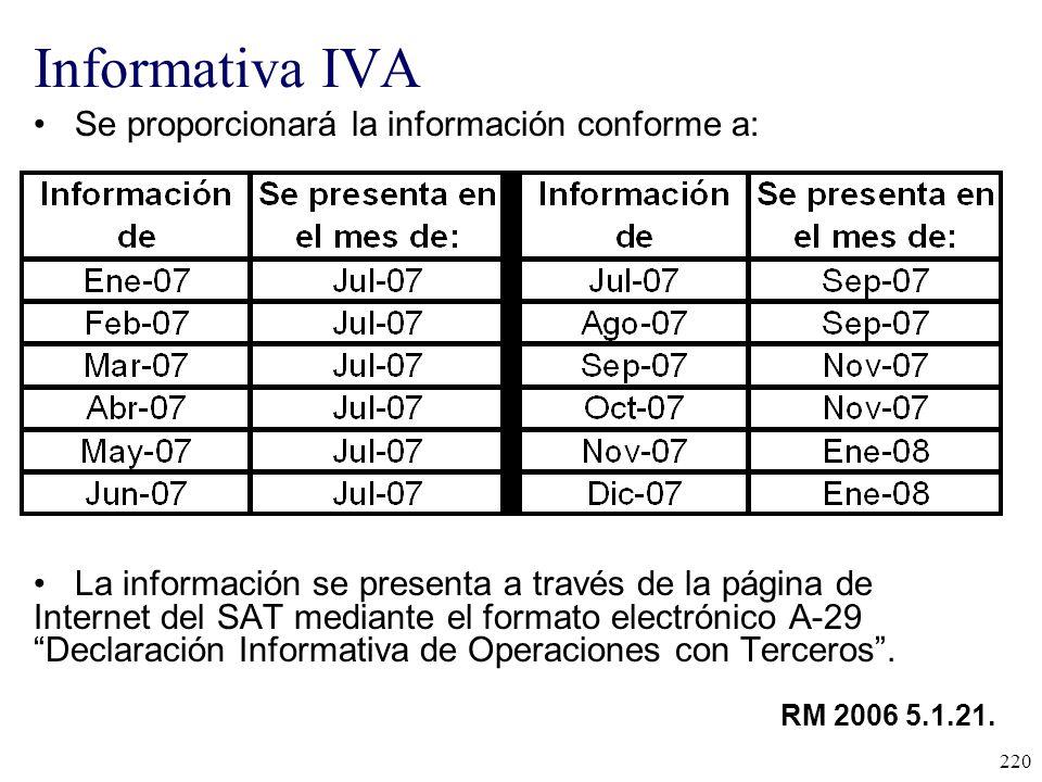 Informativa IVA Se proporcionará la información conforme a:
