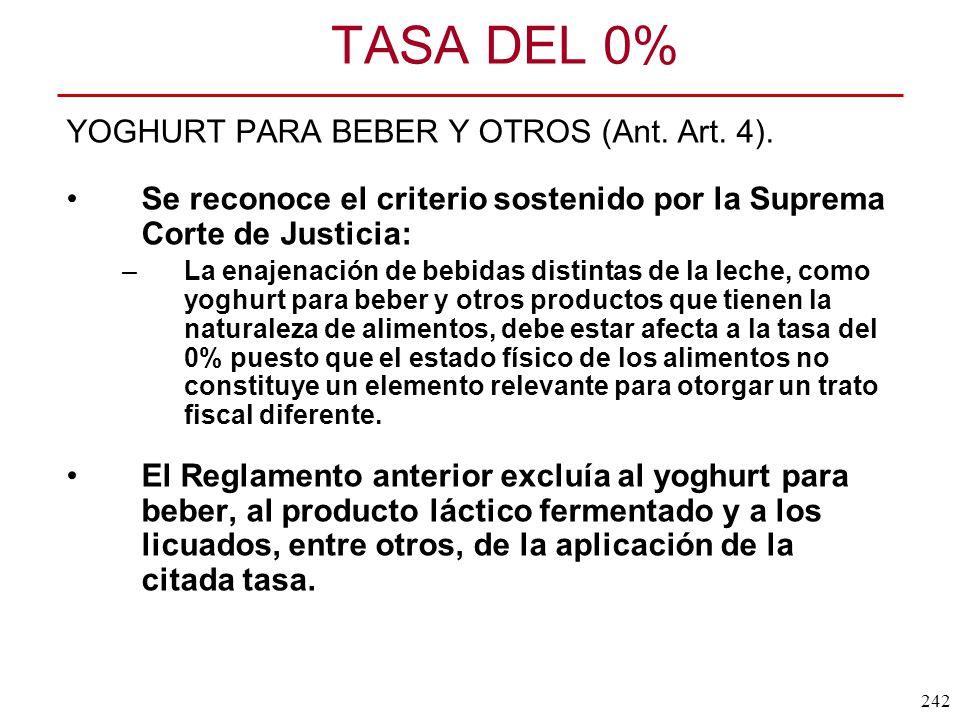 TASA DEL 0% YOGHURT PARA BEBER Y OTROS (Ant. Art. 4).