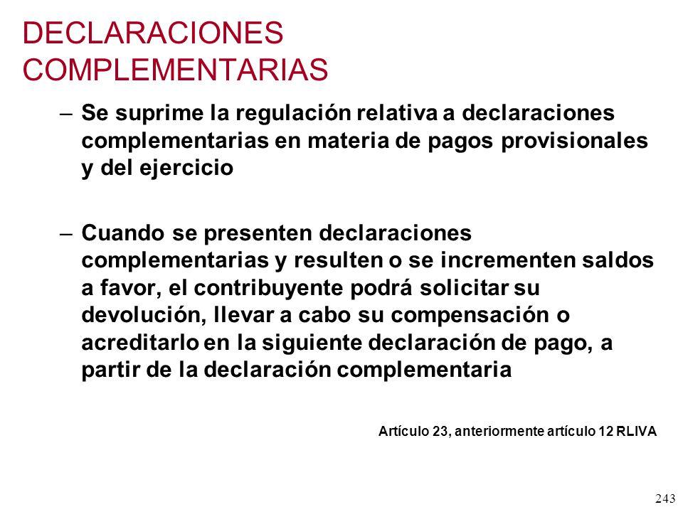 DECLARACIONES COMPLEMENTARIAS
