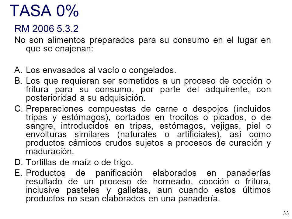 TASA 0% RM 2006 5.3.2. No son alimentos preparados para su consumo en el lugar en que se enajenan: