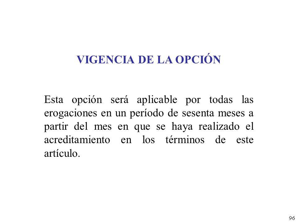 VIGENCIA DE LA OPCIÓN