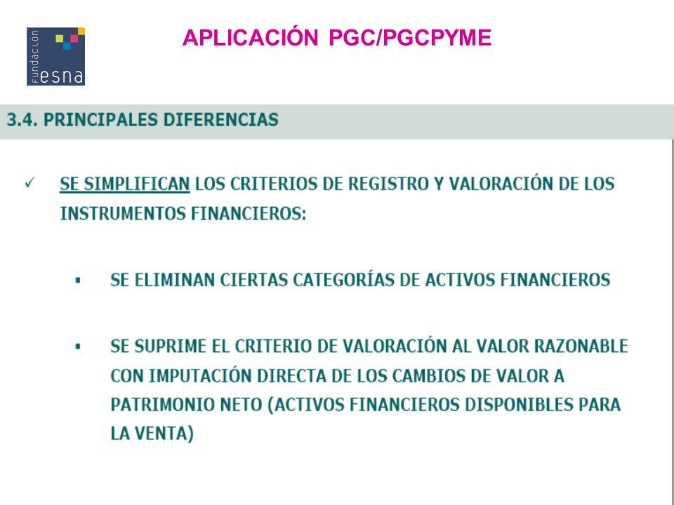 APLICACIÓN PGC/PGCPYME