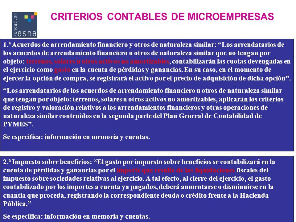 CRITERIOS CONTABLES DE MICROEMPRESAS