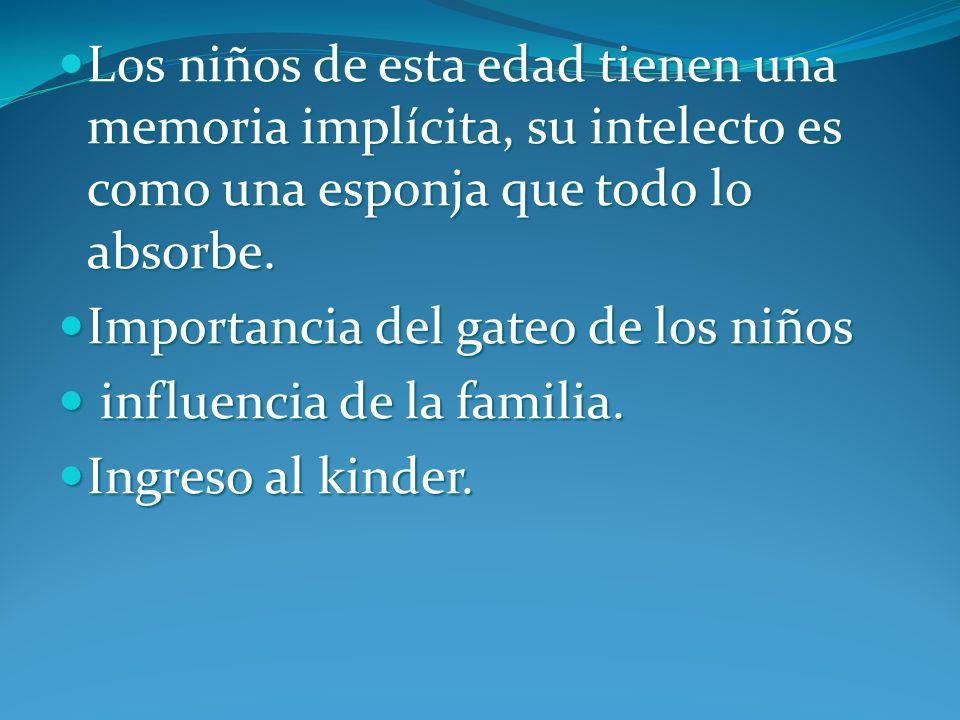 Los niños de esta edad tienen una memoria implícita, su intelecto es como una esponja que todo lo absorbe.