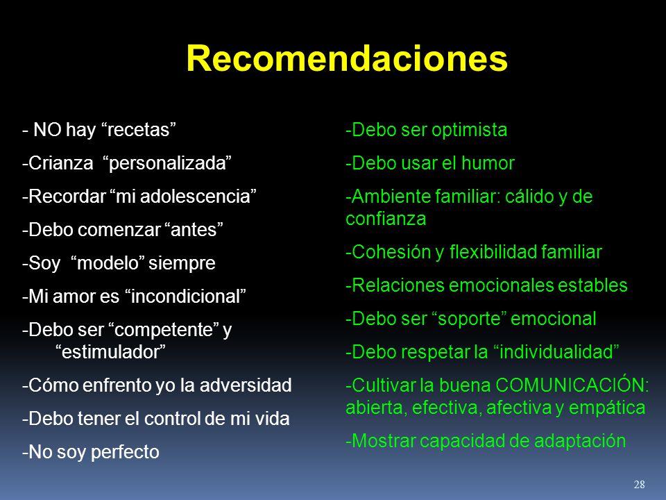 Recomendaciones - NO hay recetas -Crianza personalizada