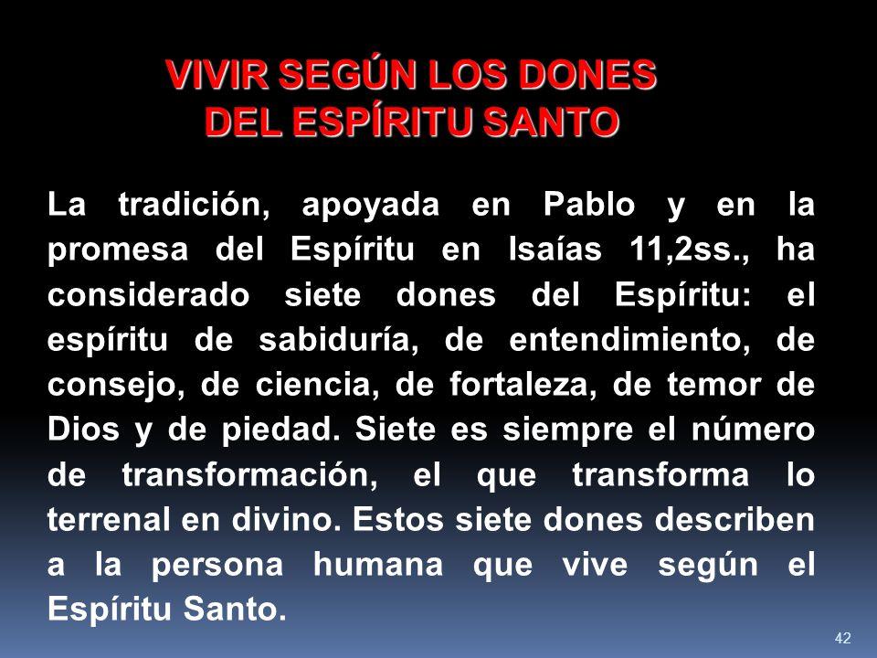 VIVIR SEGÚN LOS DONES DEL ESPÍRITU SANTO