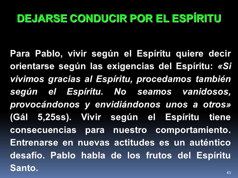 DEJARSE CONDUCIR POR EL ESPÍRITU