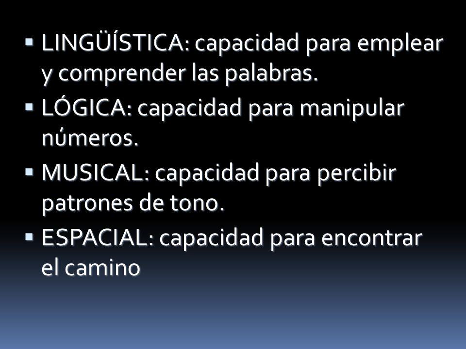 LINGÜÍSTICA: capacidad para emplear y comprender las palabras.