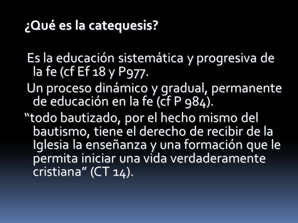 ¿Qué es la catequesis Es la educación sistemática y progresiva de la fe (cf Ef 18 y P977.