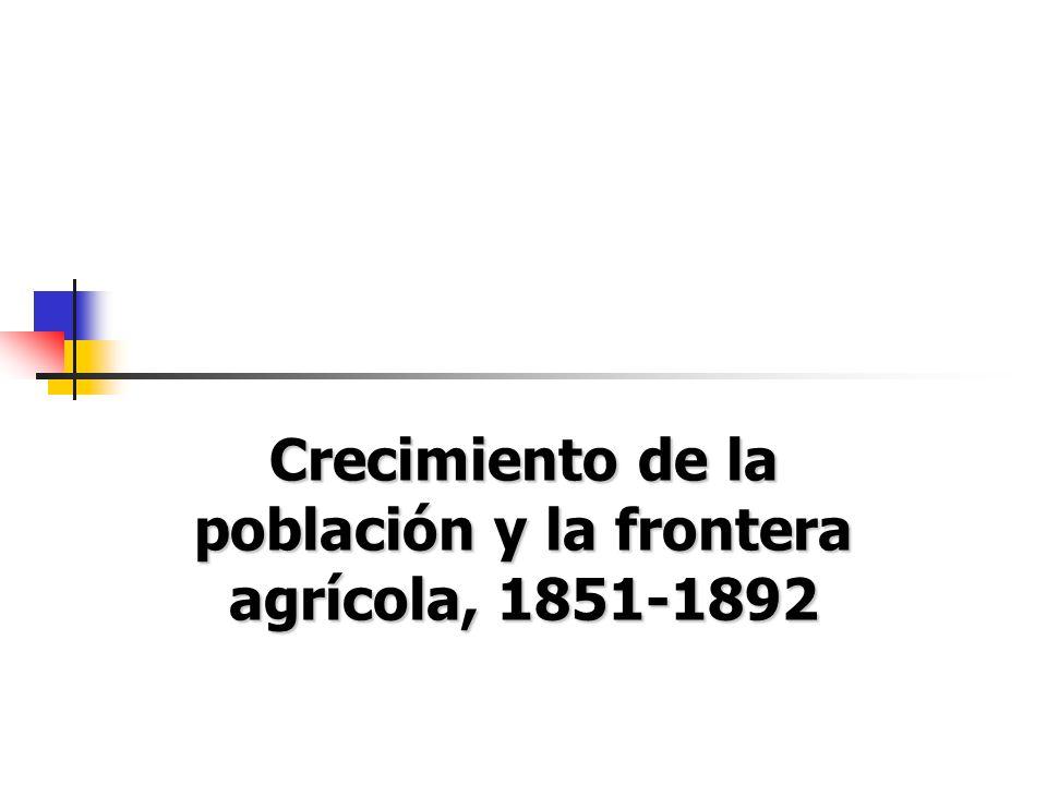 Crecimiento de la población y la frontera agrícola, 1851-1892
