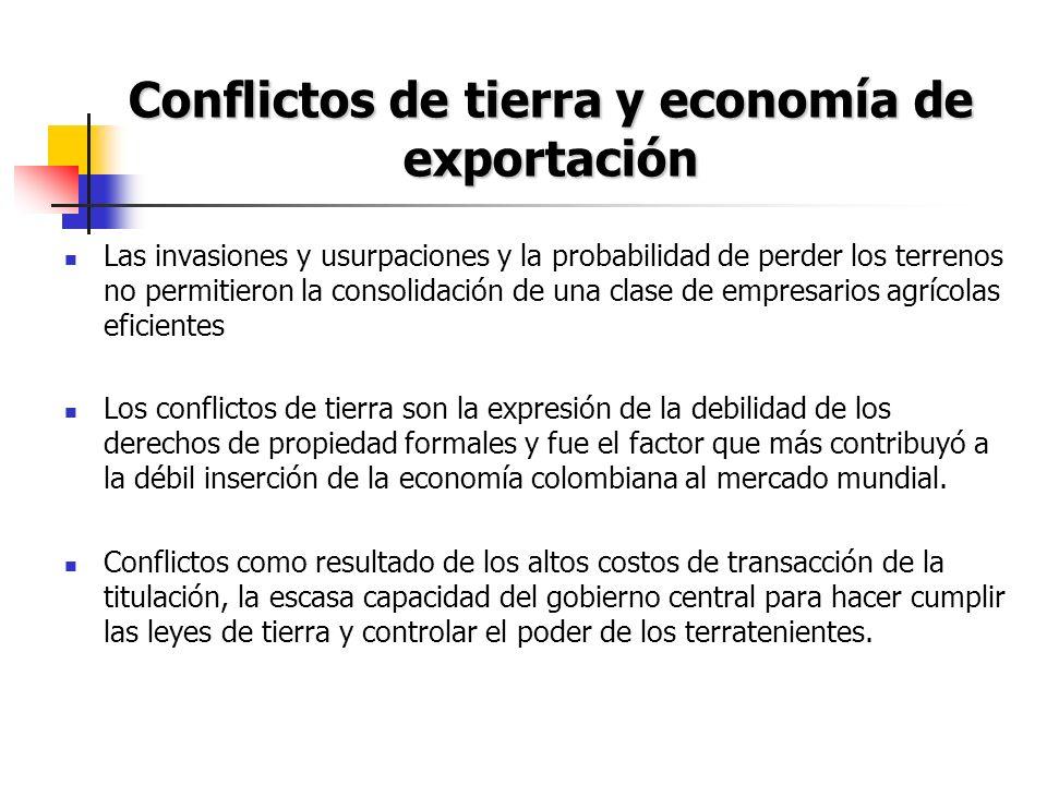 Conflictos de tierra y economía de exportación