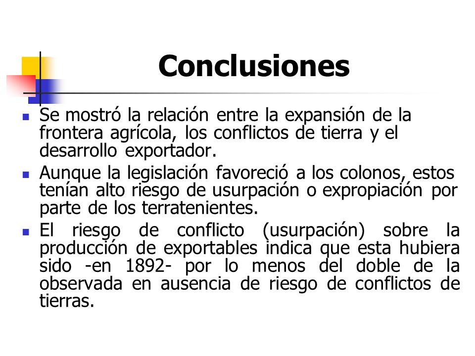Conclusiones Se mostró la relación entre la expansión de la frontera agrícola, los conflictos de tierra y el desarrollo exportador.
