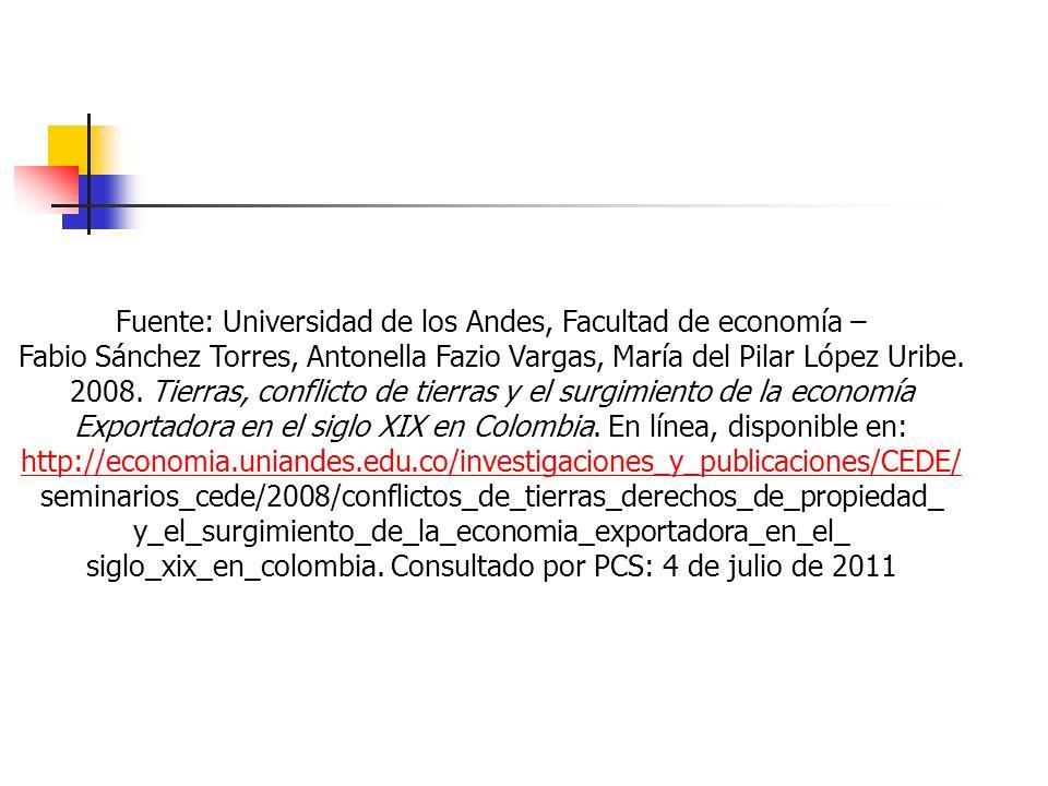 Fuente: Universidad de los Andes, Facultad de economía –