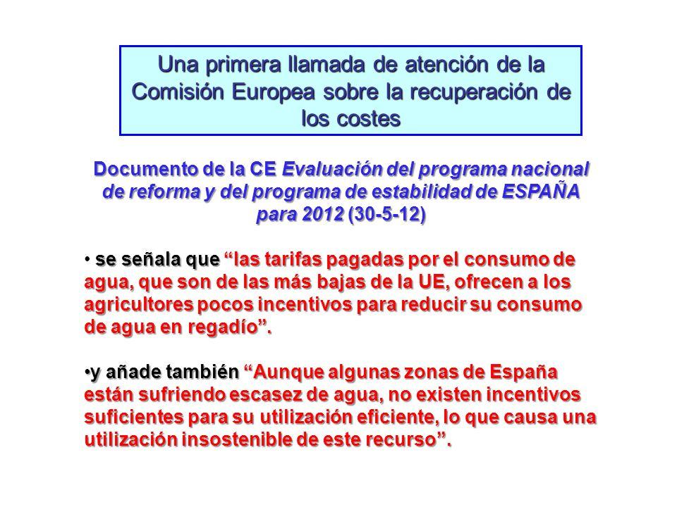 Una primera llamada de atención de la Comisión Europea sobre la recuperación de los costes