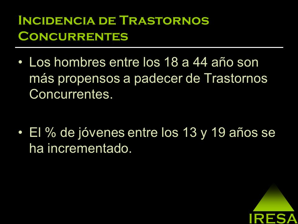 Incidencia de Trastornos Concurrentes