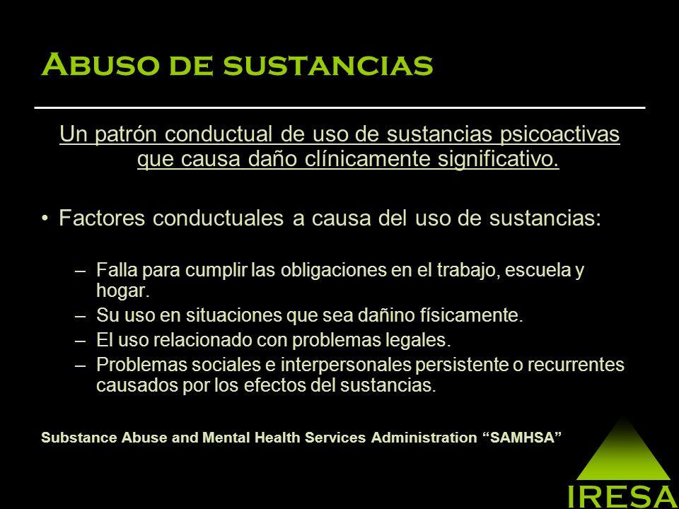 Abuso de sustancias Un patrón conductual de uso de sustancias psicoactivas que causa daño clínicamente significativo.
