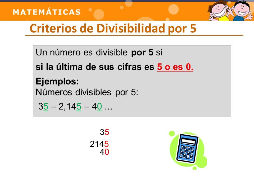 Criterios de Divisibilidad por 5