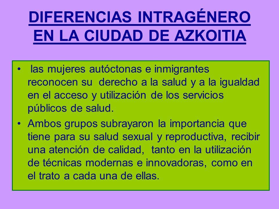DIFERENCIAS INTRAGÉNERO EN LA CIUDAD DE AZKOITIA