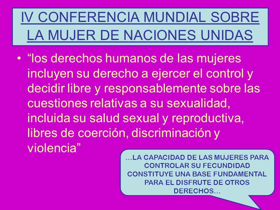 IV CONFERENCIA MUNDIAL SOBRE LA MUJER DE NACIONES UNIDAS