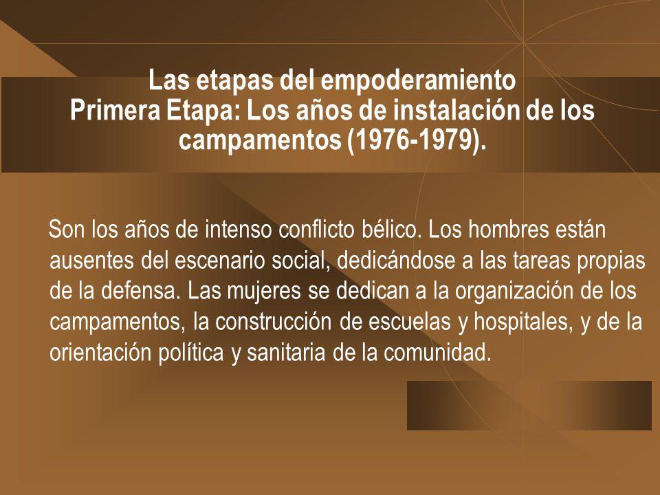 Las etapas del empoderamiento Primera Etapa: Los años de instalación de los campamentos (1976-1979).
