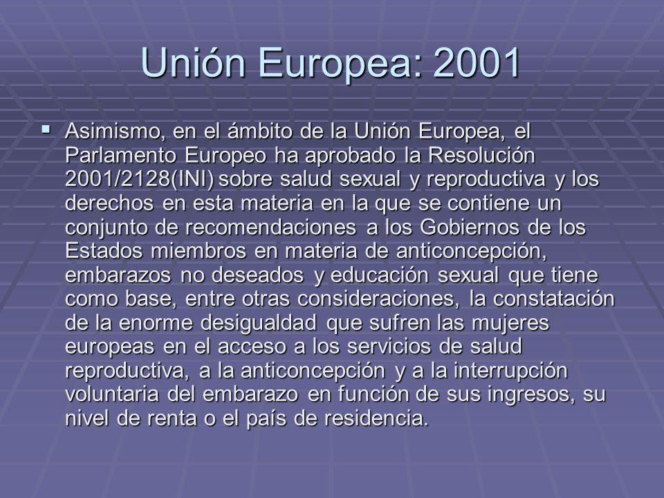 Unión Europea: 2001