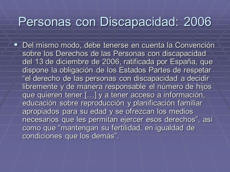 Personas con Discapacidad: 2006