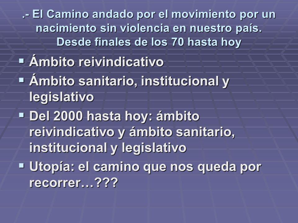 Ámbito reivindicativo Ámbito sanitario, institucional y legislativo