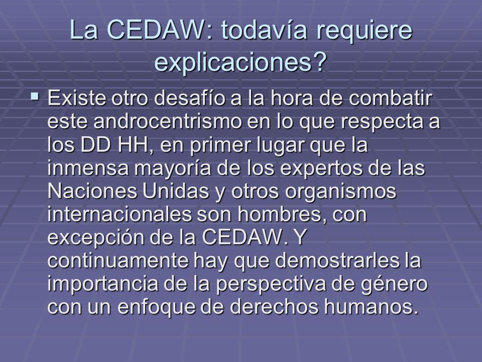 La CEDAW: todavía requiere explicaciones