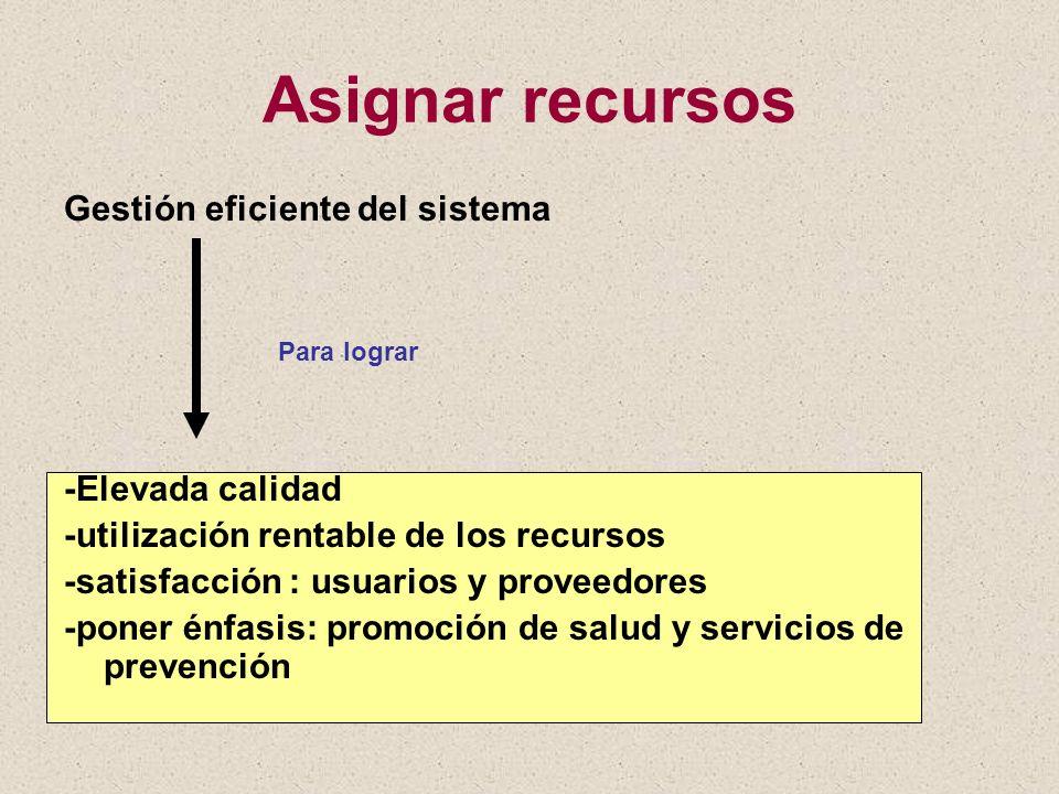 Asignar recursos Gestión eficiente del sistema Para lograr