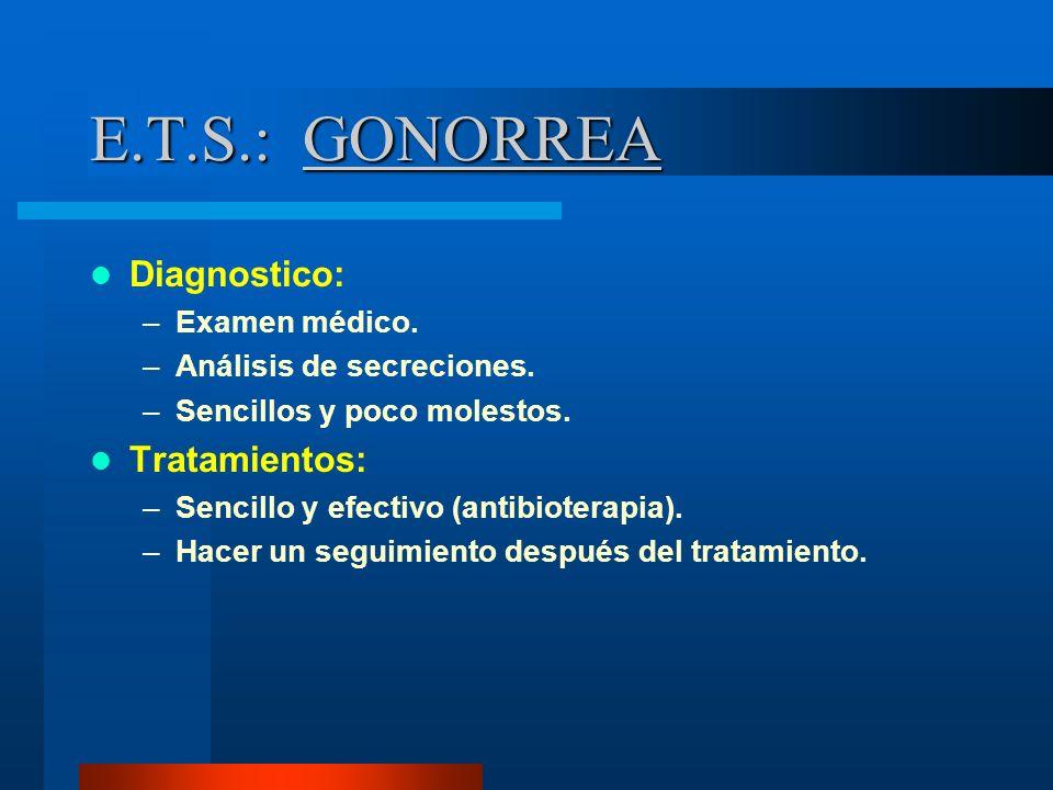 E.T.S.: GONORREA Diagnostico: Tratamientos: Examen médico.