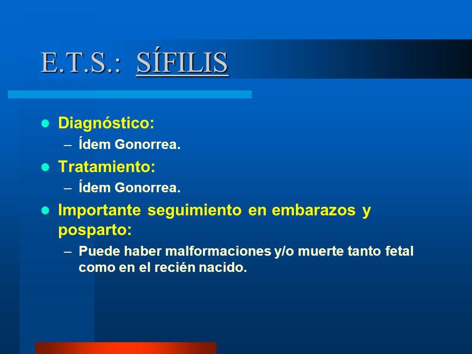 E.T.S.: SÍFILIS Diagnóstico: Tratamiento: