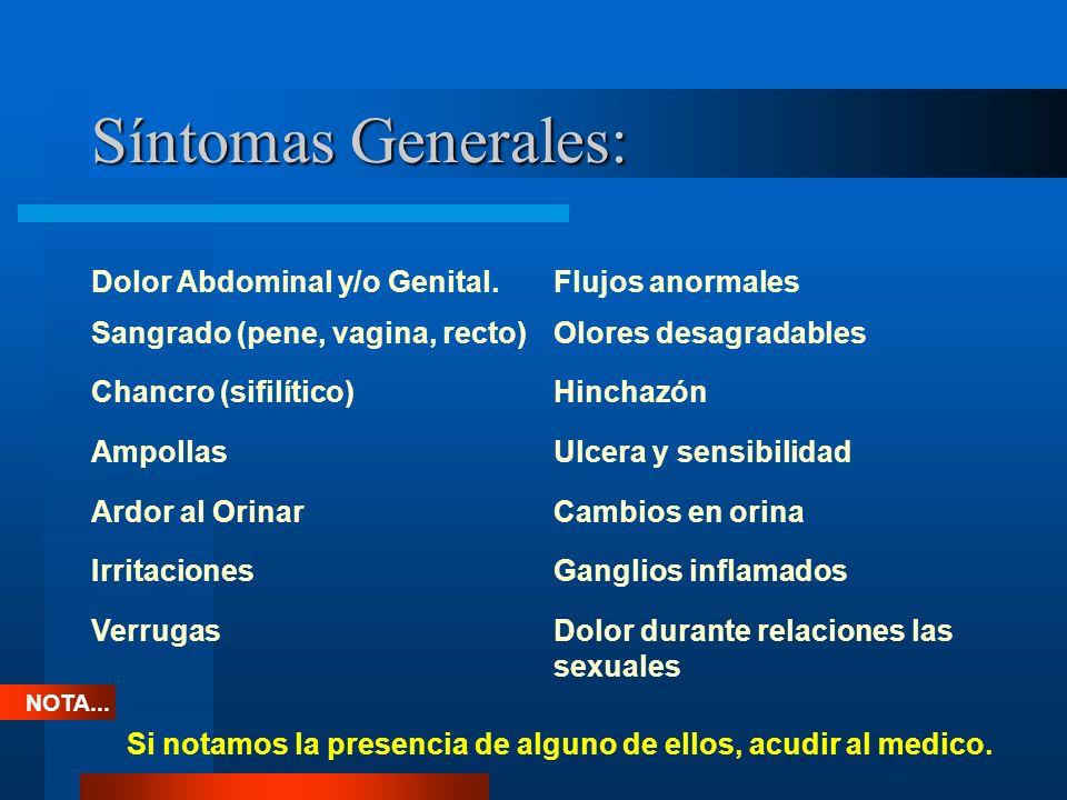 Síntomas Generales: Dolor Abdominal y/o Genital. Flujos anormales