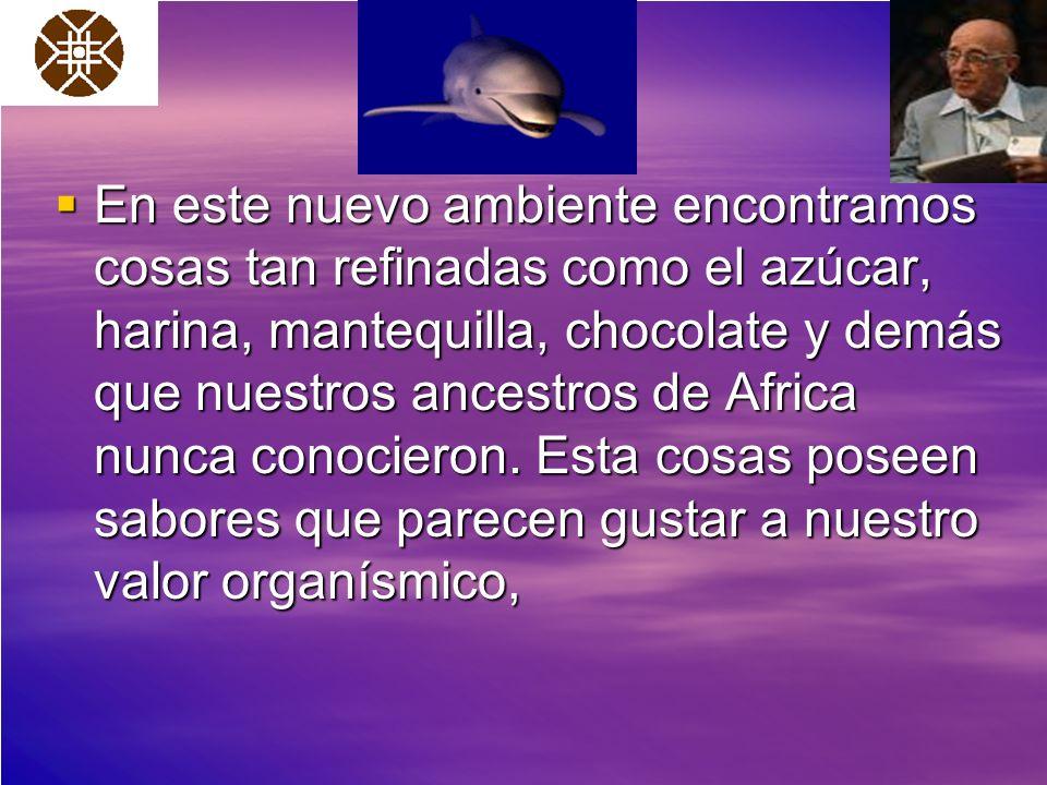 En este nuevo ambiente encontramos cosas tan refinadas como el azúcar, harina, mantequilla, chocolate y demás que nuestros ancestros de Africa nunca conocieron.